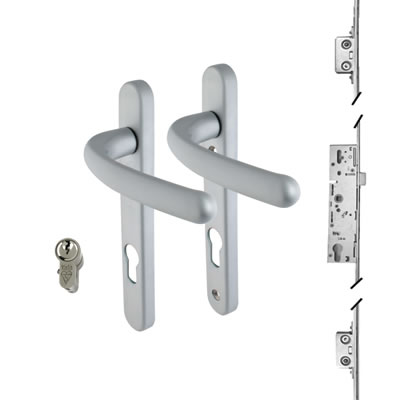 3 Point Multipoint Lock Kit with Windsor Handle - 35mm Backset - Satin Chrome)