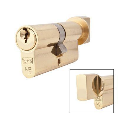 Eurospec MP5 - Euro Cylinder and Turn - 35[k] + 35mm - Polished Brass  - Keyed Alike