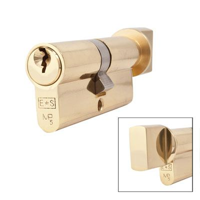 Eurospec MP5 - Euro Cylinder and Turn - 35[k] + 35mm - Polished Brass  - Master Keyed