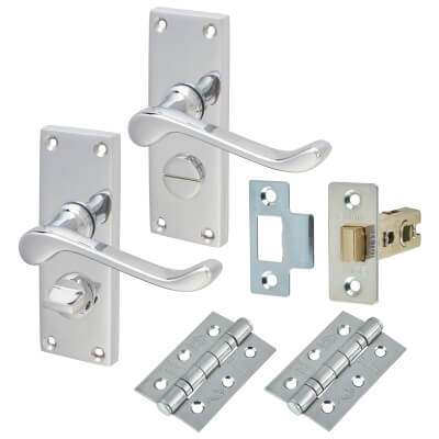 Aglio Victorian Scroll Handle Door Kit - Short Latch Privacy Set - Polished Chrome