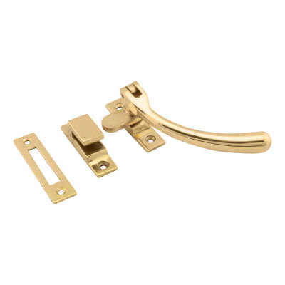 Hampstead Bulb End Hook & Plate Window Fastener - Polished Brass)