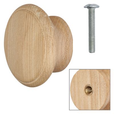 Cabinet Knob - Raw Maple - with Bolt & Insert - 60mm - Pack of 5)