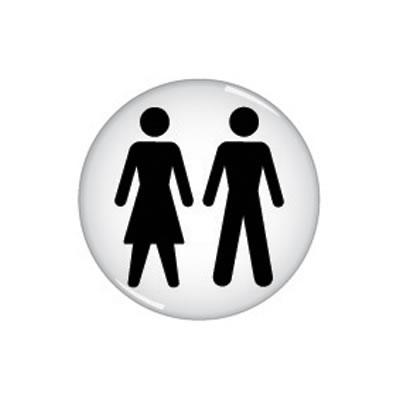 Unisex Toilet Door Sign - Domed - 60mm)