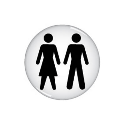 Unisex Toilet Door Sign - Domed - 60mm)