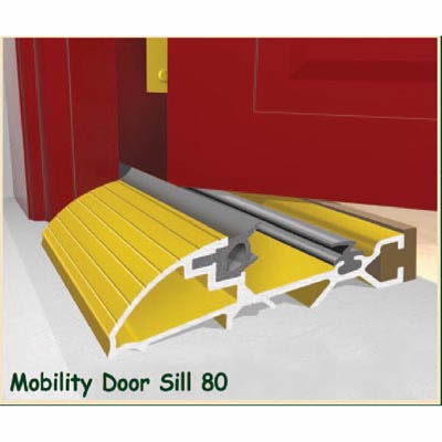 Exitex Mobility Threshold with Ramp - 2000mm - Inward Opening Doors - Gold