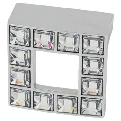 Rimini Crystal Square Cabinet Handle - 32mm Centres - Chrome