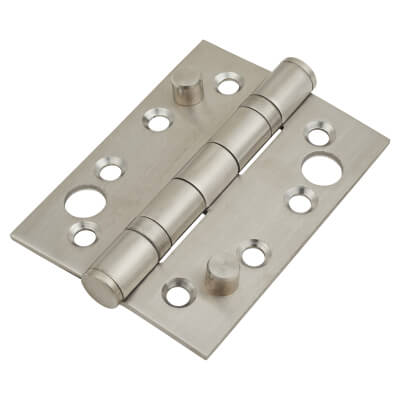 Security Ball Bearing Hinge - 102 x 76 x 3mm - Satin Stainless Steel - Pair