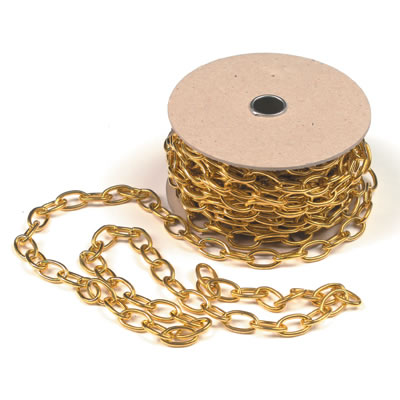 Brass Oval Chain - 25mm - 10 metres - Polished Brass)