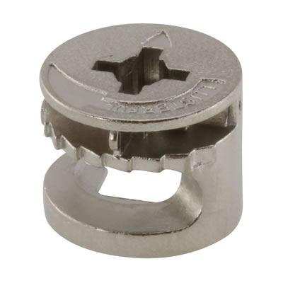 Rimless Cam Connector - Min Panel Thickness 15mm - Nickel Plated - Pack 50)