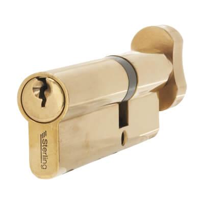 5 Pin Cylinder - Euro Thumbturn - Length 100mm - 40[k]* + 60mm - Brass)