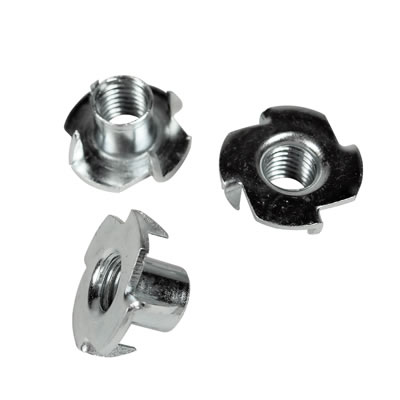4 Pronged Tee Nut - M5 x 9mm - Zinc Plated - Pack 200