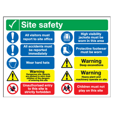 Site Safety Notice/All Visitors Must - 600 x 800mm)