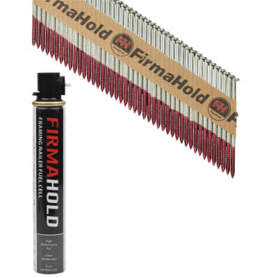 TIMco 34° FirmaHold Clipped Head Nail and Gas - First Fix - 2.8 x 63mm - FirmaGalv - 1 Fuel Cel)
