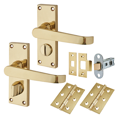 Touchpoint Budget Straight Door Handle Kit - Privacy Set - Polished Brass
