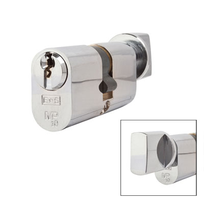 Eurospec MP10 - Euro Cylinder and Turn - 32[k] + 32mm - Polished Chrome  - Keyed to Differ