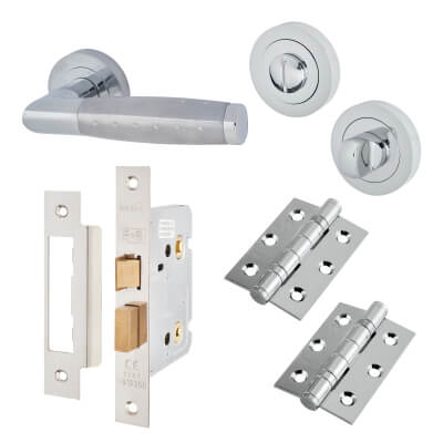 Touchpoint Celeste Lever Door Handle - Bathroom Lock Kit - Polished/Satin Chrome