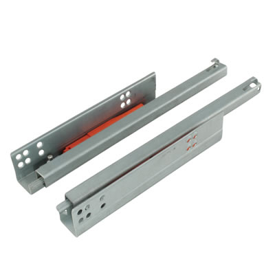 Motion Base Mounted Drawer Runner - Push-To-Open - Single Extension - 500mm - Zinc