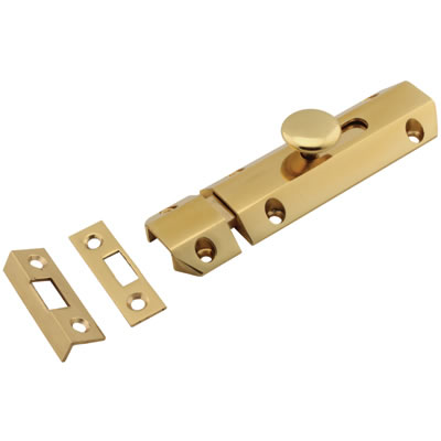 Carlisle Brass French Door Bolt / Flat Section Bolt - 100mm - Polished Brass)