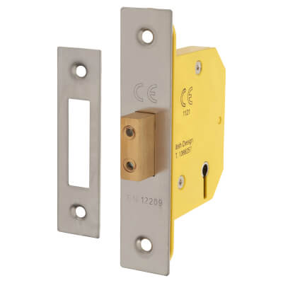 Altro 3 Lever Deadlock - 65mm Case - 44mm Backset - Satin Stainless