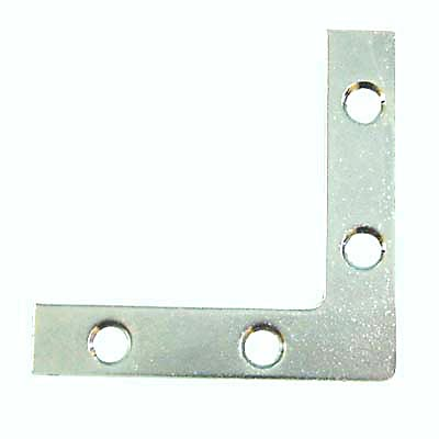 Flat Angle Corner Bracket - 75mm - Bright Zinc Plated - Pack 10