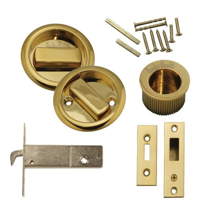 KLÜG Round Flush Handle Set with Latch - PVD Brass