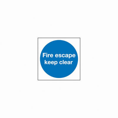 Fire Escape Keep Clear - 100 x 100mm - Rigid Plastic