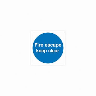 Fire Escape Keep Clear - 100 x 100mm - Rigid Plastic