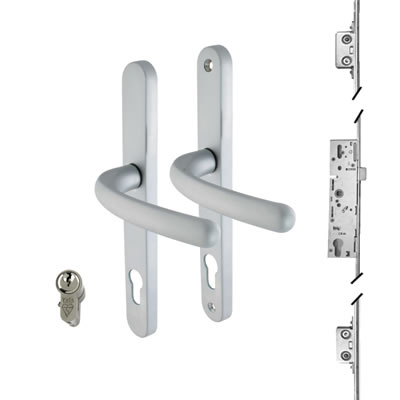3 Point Multipoint Lock Kit with Balmoral Handle - 35mm Backset - Satin Chrome)