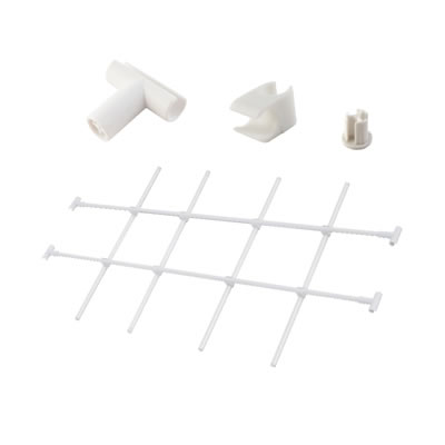 Motion Connecting Clip, End Cap, Inter-dividing Tube and T Connector - White