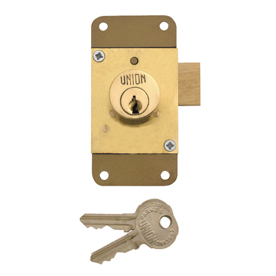 UNION® 4143 Cylinder Cupboard/Drawer Lock - 76 x 38mm - Brass