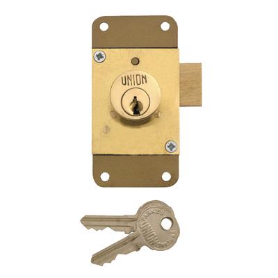 UNION® 4143 Cylinder Cupboard/Drawer Lock - 76 x 38mm - Brass