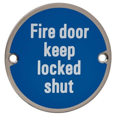 Fire Door Keep Locked Shut - 75mm - Satin Stainless Steel)
