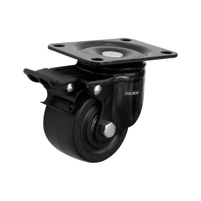 Coldene Low Level and High Load Castor - Swivel Braked - 200kg Maximum Weight - Black)