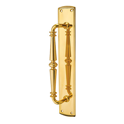 Carlisle Brass Public House Entrance Pull Handle on Finger Plate - 382 x 64mm - Polished Brass