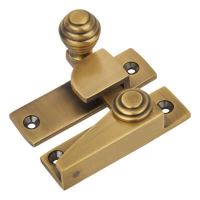 M Marcus Straight Arm Non Locking Sash Fastener - Antique Brass
