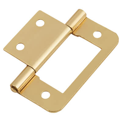 Flush Hinge - 50mm - Brass Plated - Pack of 10 pairs