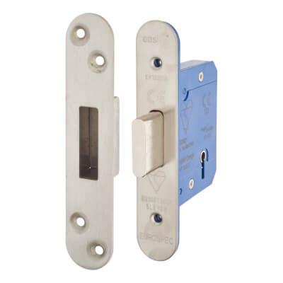 A-Spec BS3621 5 Lever Deadlock - 65mm Case - 44mm Backset - Radius - Satin Stainless