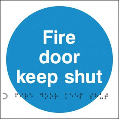 Fire Door Keep Shut Sign - Braille