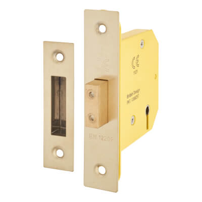 Altro 3 Lever Deadlock - 78mm Case - 57mm Backset - PVD Brass