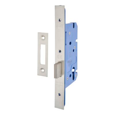 A-Spec Architectural DIN Euro Deadlock - 85mm Case - 60mm Backset - Satin Stainless