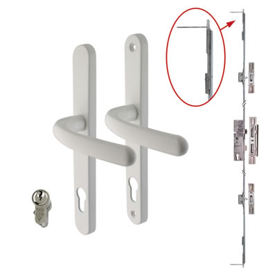 5 Point Multipoint Lock Kit with Balmoral Handle - 35mm Backset - White