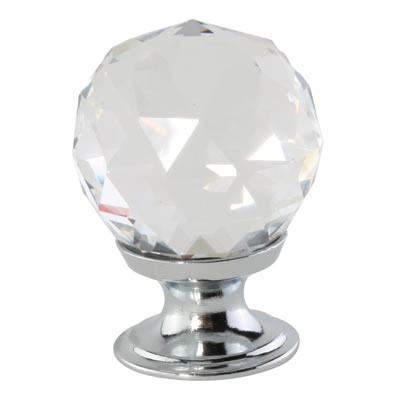 Aglio Cut Glass Cabinet Knob - 30mm - Polished Chrome