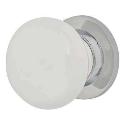 Porcelain Knobset - 57mm - White & Chrome