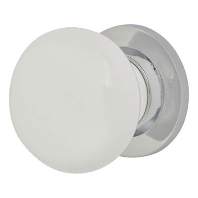 Porcelain Knobset - 57mm - White & Chrome