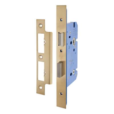 A-Spec Architectural DIN Bathroom Lock - 85mm Case - 60mm Backset - PVD Brass