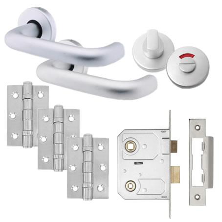 Lever Door Handle on Rose Kit - Bathroom Lock - Aluminium