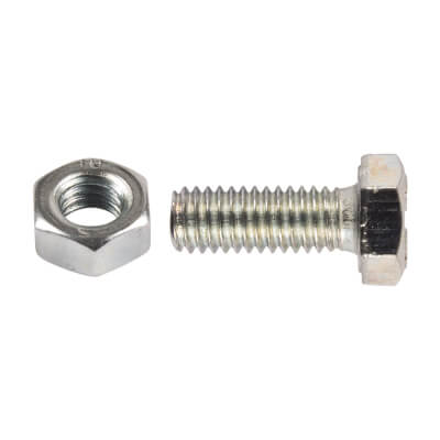 Metric HT Set Screws with Hex Nut - M12 x 25mm - Pack 2