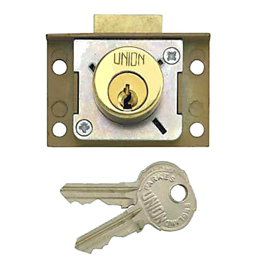 UNION® 4138/7 Cylinder Cut Cupboard/Drawer Lock - 63.5 x 38mm - Slam Bolt