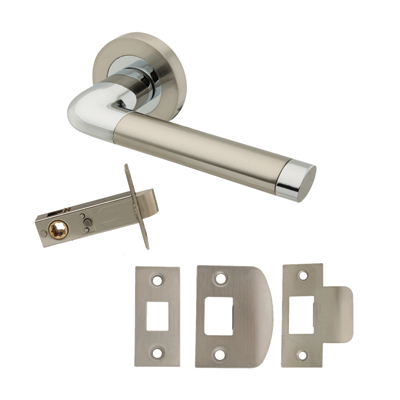 Excel Roma Door Handle - Privacy Set - Satin Nickel/Polished Chrome