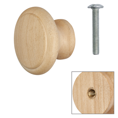 Cabinet Knob - Raw Maple - with Bolt & Insert - 35mm - Pack of 5